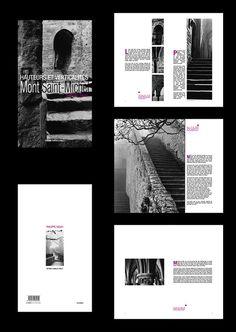 Création - Mise en page (couverture, trois doubles-pages, quatrième de couverture) pour un livre de photographies du Mont Saint-Michel en noir & blanc.