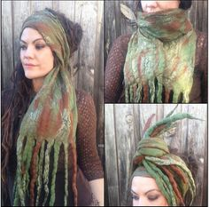 The 'Moss & the Mud' Nomad Gypsy Felted Scarf Seaweed Dread Wrap with Mermaid Dreads, Pixie, Hippie Wearable Art