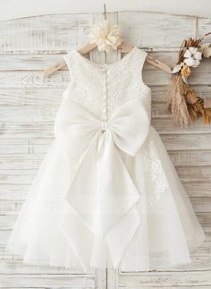 [US$ 67.49] A-Line/Princess Knee-length Flower Girl Dress - Tulle/Lace Sleeveless Scoop Neck With Lace/Bow(s)