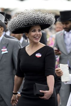Princess Haya bint Al Hussein attends the first day of The Royal Ascot race meeting on June 2016 in Ascot, England.(Photo by Julian Parker/UK Press via Getty Images) Pierre Balmain, Princess Haya, Saudi Princess, English Hats, Fascinator Hats, Fascinators, Royal Ascot Races, Ascot Hats, Elegant