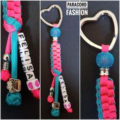 Paracord Anhänger in Türkis und Pink, mit diversen Beads und Namen des Hundes. #paracord #anhänger #pink #türkis