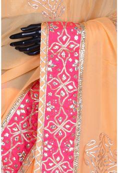 Pure Satin Embroidery-Pastel Orange-Gota Work-WG203081 Hand Work Embroidery, Embroidery Suits Design, Embroidery Fashion, Embroidery Patterns, Gota Patti Saree, Peach Saree, Desi Wedding Dresses, Sleeves Designs For Dresses, Gold Earrings Designs