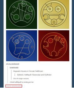 Oh, absolutely!! Hogwarts houses in Circular Gallifreyan!!