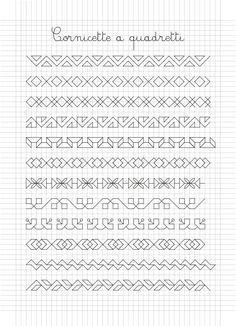 Cornicette e disegni a quadretti Blackwork Patterns, Blackwork Embroidery, Bead Embroidery Patterns, Zentangle Patterns, Cross Stitch Borders, Cross Stitch Designs, Cross Stitch Patterns, Graph Paper Drawings, Graph Paper Art