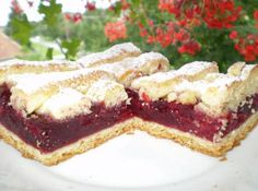 Rácsos meggyes - gridded linzer with sour cherry Dinner Recipes, Dessert Recipes, Torte Cake, Hungarian Recipes, Caramel, Cheesecake, Food And Drink, Cooking Recipes, Sweets