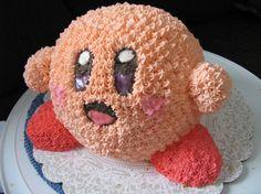 Kirby Cake!!  Uses a Wilton sphere cake pan.
