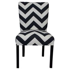 Wood-framed+Parsons+side+chair+with+a+black+and+white+chevron+motif.  Product:+Set+of+2+chairsConstruction+Material:+W...