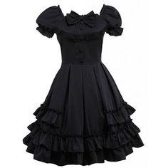 Partiss Women Cotton Bowknot Multi-Layers Lolita Dress (€48) ❤ liked on Polyvore featuring dresses, cotton dress, double layer dress, cotton day dresses and layered dress