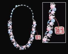 RARE Francois VTG Necklace Stunning Signed  Pastels Pinks  Blues Glass NWT 1940S #Francois #Necklace