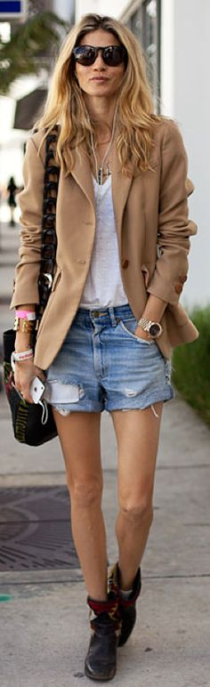 layered necklaces, white t-shirt, cut off jean shorts, boyfriend watch, stacked bracelets, boots, camel blazer, sunglasses, laid back style