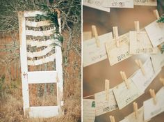 Gorgeous screen door seating chart with vintage postcard escort cards. photography, styling, flowers and hair + makeup: Three Nails Photography