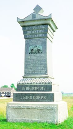 The Wheatfield Road monument to the 68th Pannsylvania Infantry at Gettysburg