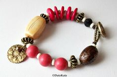 DatzKatz Mixed elements Bracelet coral wood bone bronze button coconut seed beads handmade white pink ivory brown
