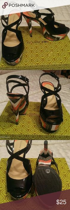 GIANNI BINI SHOES GIANNI BINI SHOES. Size 7.5. Excellent condition. Gray, coral and white. Black patent top. Approx 5 inch heel. Gianni Bini Shoes Heels