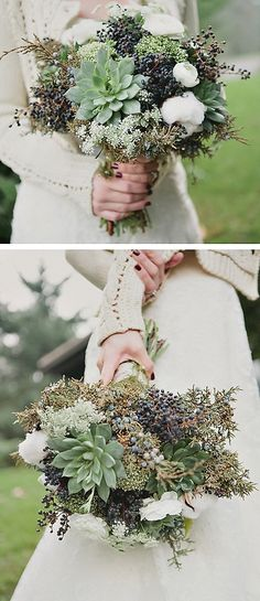 Green bouquet with succulents and berries