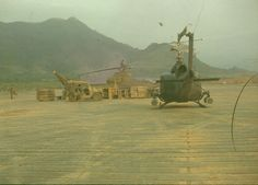 US Army 174th Assault Helicopter Company Bell UH-1C Huey and Bell AH-1 Cobra.