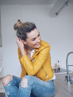 Try mustard leather for outer layers this fall to add a pop of color to your…