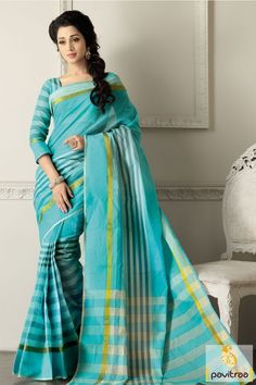 Stunning look green color cotton saree for indian woman. This light weight casual saree for Indian young modern woman for summer season festival celebration. #saree, #casualsaree more: http://www.pavitraa.in/store/casual-saree/