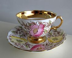BEAUTIFUL ROSINA HAND PAINTED FLOWERS BONE CHINA TEA COFFEE CUP SAUCER SET in Pottery & Glass | eBay