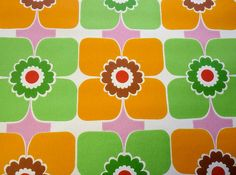 Vintage retro 70s flower power wallpaper wall art 1970s Scandi. $15.00, via Etsy.