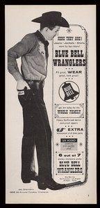 JIM SHOULDERS for Blue Bell Wrangler jeans (1959) - Visit 'Virtual Scrapbook' by Gerald Lyda on Pinterest for more than 170,000 categorized celebrity images.