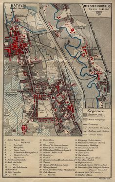 Old Map of Batavia (Jakarta Indonesia) Old Maps, Antique Maps, Rare Pictures, Historical Pictures, Urban Mapping, Site Analysis Architecture, City Layout, Dutch East Indies, City Maps