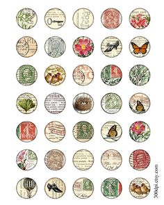 carte postale 1 inch round images Printable Download by 300dpi, $4.00