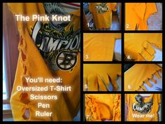 Almost any hockey fan I know has a hankering for jerseys, memorabilia and t-shirts… oh the t-shirts. I think for some of us (myself included) hockey t-shirts are an addiction of sorts. Tshirt Knot, Recycled T Shirts, Wishes For Baby, Oversized Shirt, Hockey, Baseball, Diy Fashion, Knots, Crafts For Kids
