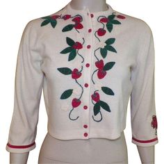Vintage 1950's Pat Baldwin Cashmere Sweater With Applique Strawberries