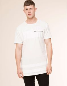 Pull&Bear - man - t-shirts - white t-shirt with zipped pocket - white - 09242587-I2015