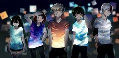 Tsuyu, Ochako, Katsuki, Izuku, Shouto, cool, t-shirts, outfits; My Hero Academia