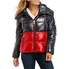Tommy Hilfiger Color Block Puffer Jacket - Navy/Salsa - S Puffer Jackets, Winter Jackets, Down Coat, Signature Design, Tommy Hilfiger, Jackets For Women, Leather Jacket, Brand New, Color