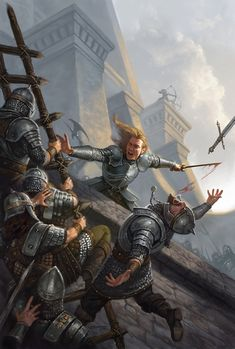 m Fighter Plate Sword Castle Battle scene vs army ladder wall Eastern Border Stawicki illustrator High Fantasy, Fantasy Battle, Fantasy Story, Fantasy Warrior, Medieval Fantasy, Fantasy World, Fantasy Character Design, Character Art, Dungeons And Dragons