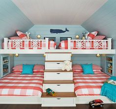 A fun and colorful lake house bunk room designed by Bayberry Cottage filled with custom details and clever storage solutions. Bunk Rooms, Bunk Beds, Decoration Chic, House Of Turquoise, Florida Home, Seaside Florida, Home And Deco, Beach Cottages, Coastal Living