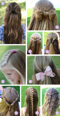 Over 100 of the best easy girls hairstyles for toddlers to tweens & teens. Fun braids, ponytails, pigtails, half up & buns for school or fancy occasions. Tween Hairstyles For Girls, Girls Hairdos, Teen Hairstyles, Braided Hairstyles, School Hairstyles, Natural Hairstyles, Hairstyles For Toddlers, Halloween Hairstyles, Hairstyle Short