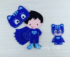 PJ Masks Cat Boy Felt Non Paper Doll and Finger by AHeartlyCraft