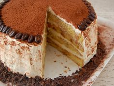 Tiramisu layer cake, from Betty Crocker site. Filling/icing is made from mascarpone, cognac, whipped cream, etc. Looks like a nice recipe.