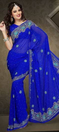 101303, Party Wear Sarees, Embroidered Sarees, Bridal Wedding Sarees, Faux Georgette, Zari, Sequence, Cut Dana, Resham, Blue Color Family