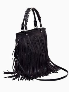 fringe bag in black