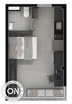 Vitacon & Life is on & Empreendimento & VN UenoThe post Vitacon & Life is on Studio Apartment Floor Plans, Studio Apartment Layout, Small Studio Apartments, Apartment Plans, Apartment Design, Arch Interior, Home Interior Design, Small Bedroom Designs, Floor Layout