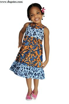 Blue and Brown African Print Dress For Girls, African Children, Boys, Girls, Blue and Brown African Print Dress for Girls for special occasions or casual wear Traditional Print Unique look. Ankara Styles For Kids, African Dresses For Kids, African Children, African Girl, African Print Dresses, African Fashion Dresses, African Attire, African Wear, African Clothes