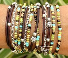 Turquoise Bohemian LEATHER Wrap Chain Bracelet - Boho Miyuki Beaded Leather Rope Triple Wrap w/ Extension - Pick SIZE / COLOR - Usa -  785