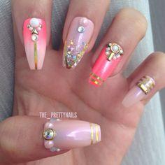 "Princess nails  using: Revlon ""Angelic"" (duo-chrome light pink), China Glaze ""Flip Flop Fantasy"" (neon coral), @de..."