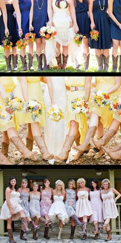 F.M. Light and Sons Country and Western Wedding Style Guide: Examples of Bridesmaids Wearing Cowboy Boots