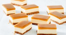 Golden syrup and custard slice With a butternut snap cookie base, creamy cheesecake filling and golden syrup jelly top, it's impossible to stop at one piece of this easy no-bake slice. Jelly Slice, No Bake Slices, Custard Slice, Golden Syrup, Savoury Cake, Four, Food Gifts, Clean Eating Snacks, Sweet Recipes