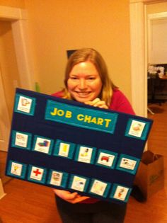 Preschool Job Chart- Pockets with Velcro-ed jobs (pictures and words). I recommend sewing non-adhesive Velcro loops to the pockets and using adhesive hooks on the back of laminated jobs. The long top pocket holds craft sticks with the names of each child.