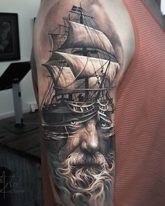Boat with portrait tattoo - 100 Boat Tattoo Designs