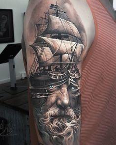Boat with portrait tattoo - 100 Boat Tattoo Designs