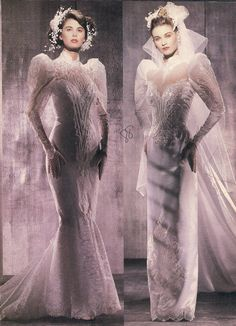 Typical examples of the excesses--especially in bridal wear--of the 1980's.