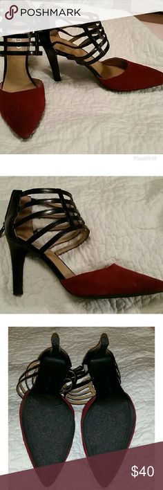 7749ecf506f6 FRANCO SARTO SUEDE CAGED HEELS These beauties are absolutely fabulous in  burgundy crimson suede in